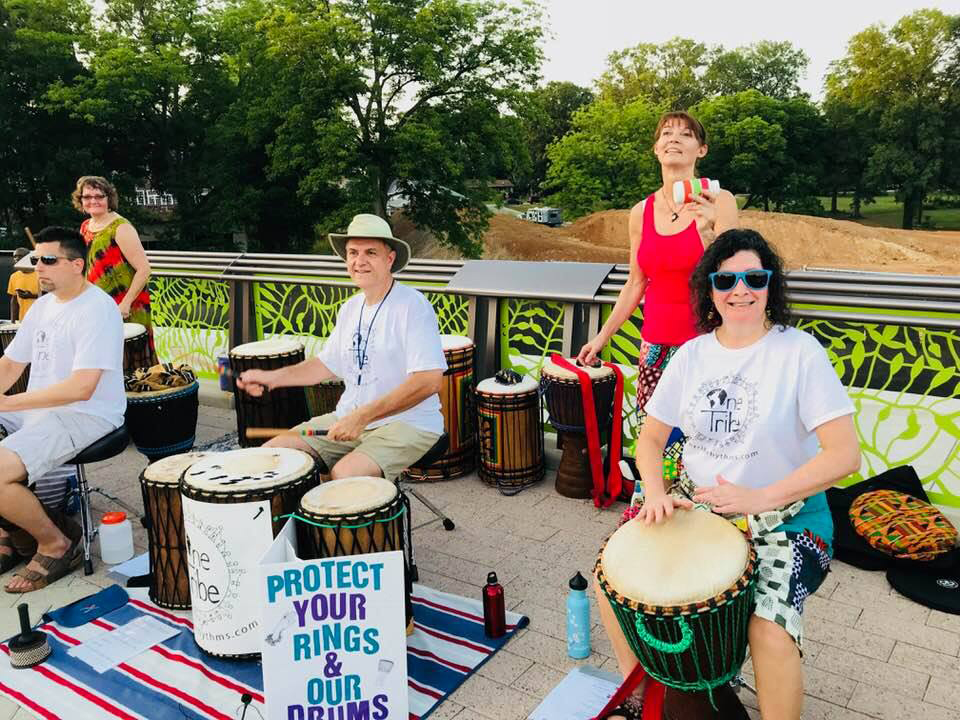 One Tribe band members and friends performing for Cary Art Loop