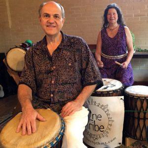 Tony and Mel drum circle facilitators