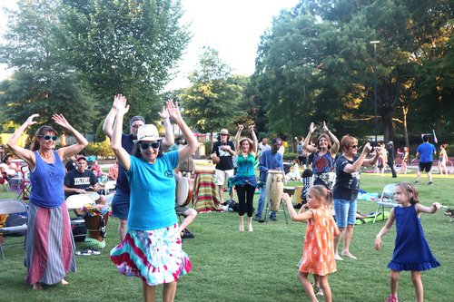 One Tribe leading dancing at the drum circle in Pullen Park, Raleigh
